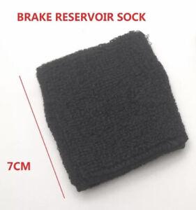 Plain Black Minimalist Motorcycle Brake Fluid Reservoir Tank Sock Sleeve Cover