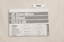 Nikon Nikkor AF 28-80mm f/3.5-5.6 Operating Manual User Guide Owner English ✺328