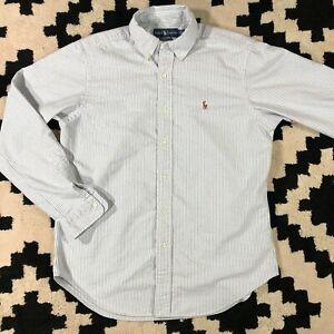 Polo Ralph Lauren LS Blue White Button Down Oxford Yarmouth Shirt Men M