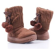 Brown Faux Suede Pom Pom Casual Booties Toddlers Kids Girls Boots Baby Size 3