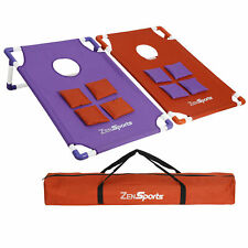 Portable Pvc Framed Collapsible Cornhole Beanbag Toss Game W/8 Bags + Carry Case