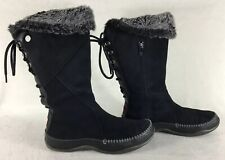 North Face Women's Primaloft Insulated Side Zip Boots Black Leather Size 6.5
