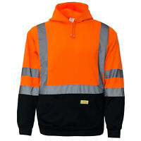High Visibility Hooded Sweatshirt Class 3 Safety Hoodie, lime/orange -H8311/12