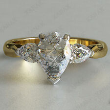 1.50 Ct Pear Shaped Diamond Three Stone Engagement Ring Solid 14k Yellow Gold