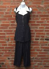 Vintage 90s Navy Blue White Stripe Button Front Tunic Top Pants Set Womens 1525
