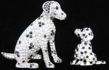 Swarovski Crystal Dalmatian Pin Set Swan Signed Jewelers Collection Brooch