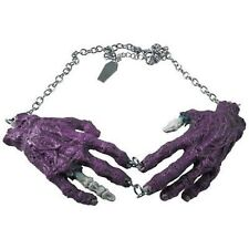 Kreepsville 666 Purple Zombie Hands Necklace Punk Goth Halloween Horror Charm