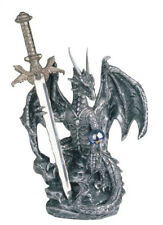 6 1/2 Inch Silver Dragon And Sword Figurine