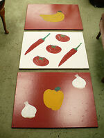 3 FOOD pictures - painted on wooden boards