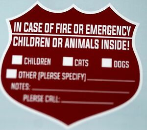 2 PET WARNING SIGNS FOR EMERGENCIES