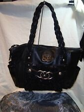 Sharif Black Leather w/Suede & Patent Trim Large Satchel Purse w/Storage Bag EUC