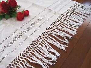 Vintage Style Hand Hemstitch Braid White Cotton Linen Door Kitchen Curtain A
