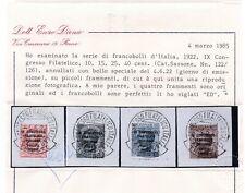 1922 REGNO USATI 4v. CONGRESSO FILATELICO CERTIFICATO  DIENA