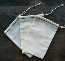 50 (4x6) Cotton Muslin Drawstring Bags Green Hem New Item