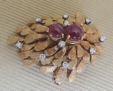 OLD 14K Yellow Gold Pin White Diamonds Cabochon Rubies Floral Leaf Brooch