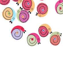 Wholesale 50pcs Cartoon Snail Wood Buttons Sewing DIY Craft Scrapbooking