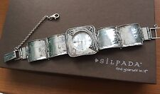 "Retired Silpada Sterling Silver Square Link Hammered Watch 7"" Working T1372~MINT"
