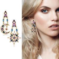 Women Boho Asymmetrical Crystal Star Sun Moon Dangle Stud Earrings Ear Jewelry