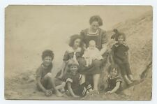 Mother and Children in Sailor Suits by the Sea Postcard