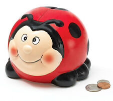Ceramic Lady Bug Polka Dots Piggy Bank Red and Black Saving Money Cute Decor