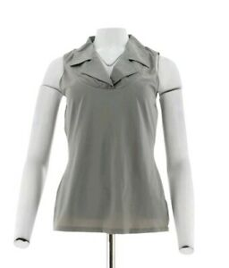 Kathleen Kirkwood Dictrac-Ease Notch Collar Camisole Steel Grey Size Large