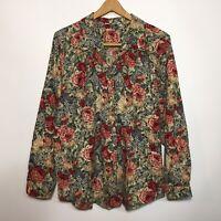 Vintage Gotcha Covered Large L Rose Floral Cotton Button Front Shirt Top