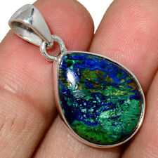 Azurite In Malachite - Morenci Mines 925 Silver Pendant Jewelry AP197844