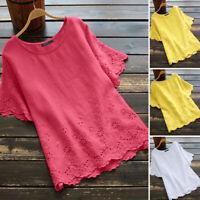 ZANZEA Women Crochet Lace Top Short Sleeve Tee Plus Size T-Shirt Floral Blouse