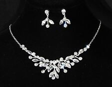 White Gold Plated Cubic zirconia CZ Necklace Earrings Bridal Jewelry Set 8219