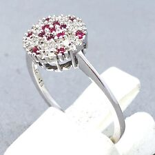 "STUNNING 9CT WHITE GOLD DIAMOND & RUBY OCCASION DRESS RING SIZE ""N"" 1092"