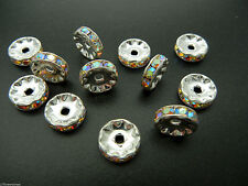 12 Preciosa Czech Rhinestone Rondelles 10mm Crystal AB Silver Plated, ii 88