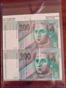 1995 Slovakia 2pc pair uncut 200 korun banknote sheet,no frame