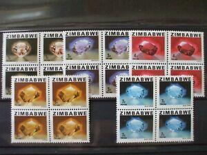 ZIMBABWE- 1980 Gemstones Short Set of 5vs Blocks of 4 MNH Cat 2.80 (2A12)