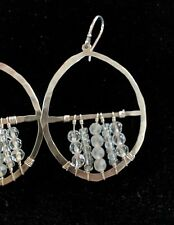 Silpada Large Sterling Silver and Crystal Bead Dream Catcher Hoop Earrings