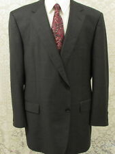 Samuelsohn Men Wool Suit Super 110 Charcoal 50L Two Button Pleated Front W40XL30