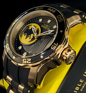 Invicta BATMAN PRO DIVER SCUBA Ltd Ed 18Kt Gold Plated Black Strap Men Watch