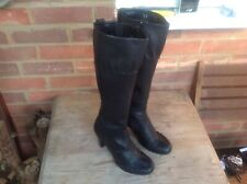 CLARKS BLACK REAL LEATHER KNEE HIGH BOOTS SIZE 5