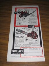 1953 Print Ad Lombard Model 30 & Model 5 Chain Saws Ashland,MA