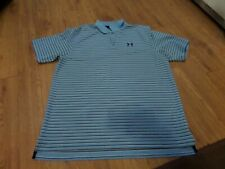 euc mens short sleeve under armour polo shirt size xl loose fit-blue striped