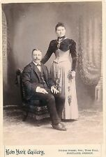 1880-1889 Portland, OR Couple, Corset Like Dress, New York Gallery Cabinet Photo