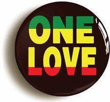 ONE LOVE BADGE BUTTON PIN (1inch/25mm diameter) REGGAE RASTAFARIAN JAMAICAN