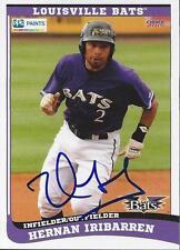 Hernan Iribarren 2015 Louisville Bats Signed Card