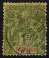 Reunion 1892 SG#46, 1f Olive Green Used #D49701