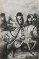 Napoleon Zu Pferd Antike Zeichnung Künstler Maler Pierre Duteurtre Prüfling