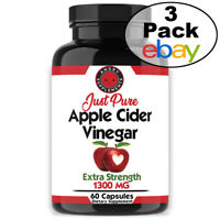 Fast Fat Burner Just Pure Apple Cider Vinegar ACV Pills Natural Weight Loss 3PK