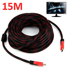 15M Long Premium Braided HDMI Cable for PS3 Xbox HDTV  High Speed Meters