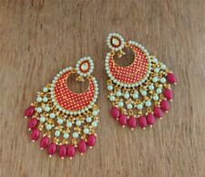 Ethnic Maroon Pearl Meenakari Drop Dangle Earrings/Kundan Pearl Drop Earrings