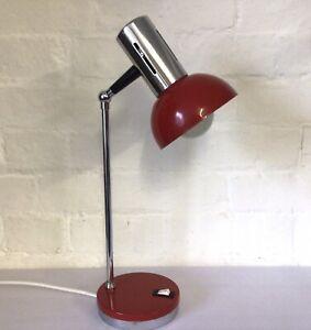 Original Vintage 1960s Red Chrome Adjustable Desk Lamp Light Rewired Working