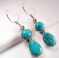 Blue Turquoise Teardrop and Round Double Gem 925 Sterling Silver Dangle Earrings