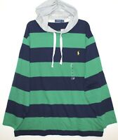 Polo Ralph Lauren Big & Tall Mens Green Blue Striped Hoodie L/S T-Shirt NWT LT
